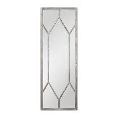 Full Length Silver Geometric Window Pane Mirror