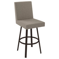Amisco Hartman Swivel Stool, Dark Brown/Cold Beige Polyester, Counter Height