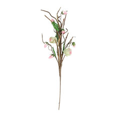 """33"""" Brown Cream and Pink Decorative Spring Floral Artificial Pick"""