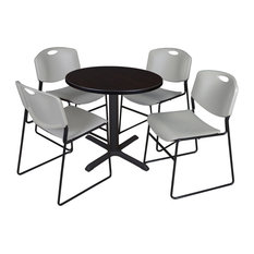 Cain 30-inch Round Breakroom Table- Mocha Walnut & 4 Zeng Stack Chairs- Grey