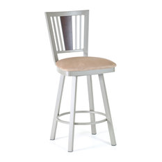 Amisco Madison Swivel Stool With Wood Backrest 41406 26-inch Counter Height