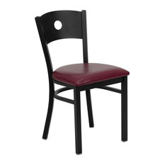 Black Circle Back Metal Restaurant Chair Burgundy Vinyl Seat