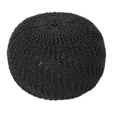 GDF Studio Beryl Knitted Cotton Pouf, Dark Gray