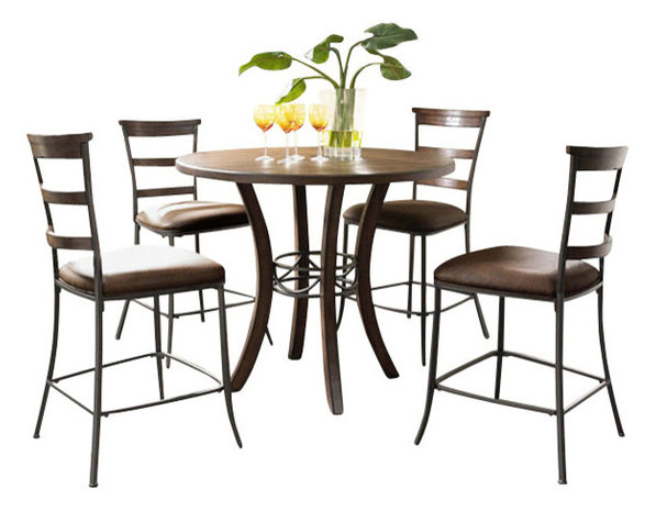 Cameron 5 Piece Counter Height Round Wood Dining Set With