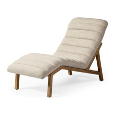 Mercana PIERRE UPHOLSTERED ARMLESS CHAISE ON A BROWN WOODEN BASE LOUNGE CHAIR