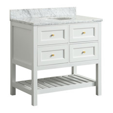 "1st Avenue - Elma White Bathroom Vanity With Carrara Marble Top, 36"" - Bathroom Vanities and Sink Consoles"
