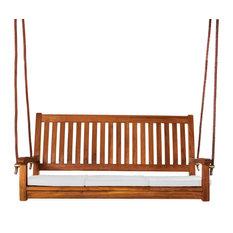 Teak Swing and Cushions, White