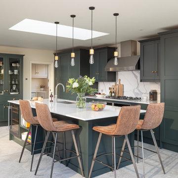 Elegant rich Green Shaker kitchen