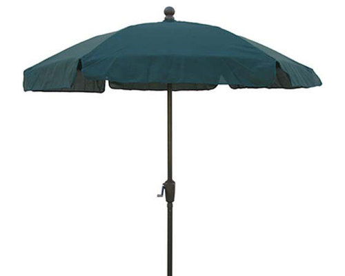 FiberBuilt Umbrellas LLC   FiberBuilt 7.5 Foot Hexagonal Forest Green  Aluminium Base Garden Umbrella   Outdoor