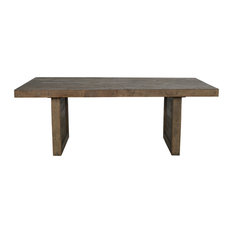 """Norman Reclaimed Pine 82"""" Distressed Dining Table by Kosas Home, Rustic Brown"""