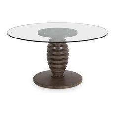 "Metro 60"" Glass Top Cone Table, Finish: Fawn"