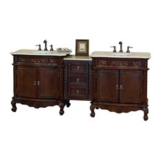 Ashby Double Vanity, Walnut With Marble Vanity Top, Cream