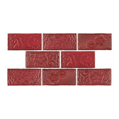 "3""x6"" Antiguo Feelings Ceramic Wall Tiles, Set of 8, Red"