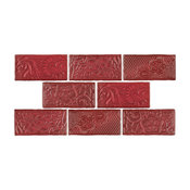 "3""x6"" Antiguo Feelings Ceramic Wall Tiles, Case of 32, Red"