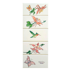 """Hand Painted Columbine 6""""x3"""" Trim Tile, Limited Edition"""