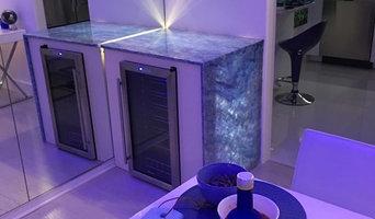 Custom Wine Cooler Cabinet, Translucent Crystal Onyx