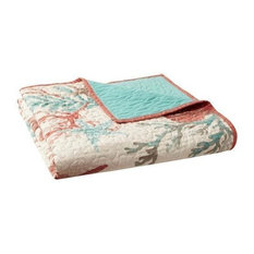 Madison Park Pebble Beach Oversized Cotton Quilted Throw in Coral MP50-3723