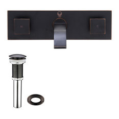 bathroom facuets vigo industries vigo titus antique rubbed bronze finish dual lever wall mount faucet with pop