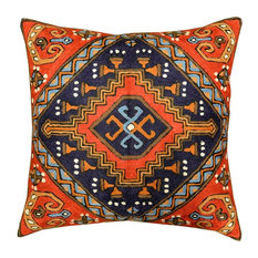 Tribal Kilim Aztec Pillow Red Navy Hand Embroidered Wool, 18x18""