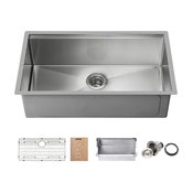 "KIBI Undermount Single Bowl Workstation Sink, Stainless Steel 33"""