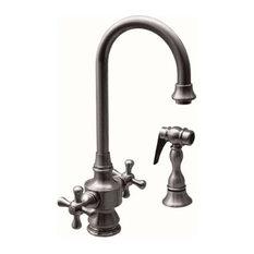 Vintage III Dual Handle Faucet Short Gooseneck Swivel Spout w/Brass Side Spray