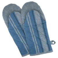 DII Blue Chambray French Stripe Oven Mitt, Set of 2