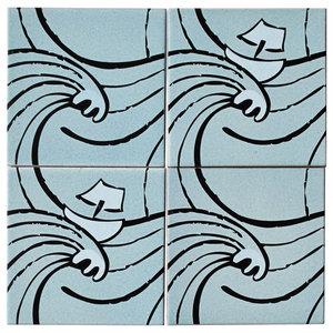 Waves Ceramic Tile Mural, 4 Tiles