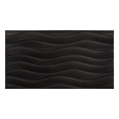 "13""x24"" Luxe Relieve Porcelain Tile, Set of 6, Black"