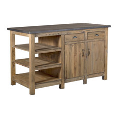 Barlow Rustic Wood Display Kitchen Island