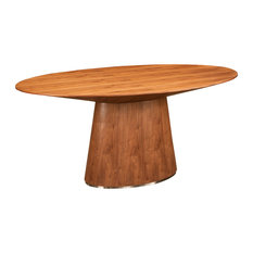 Walnut Oval Meeting Table with Wide Base