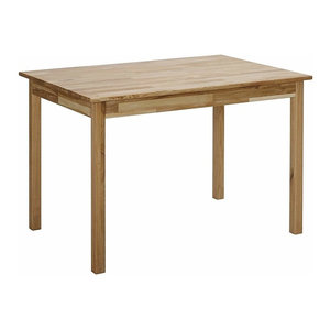 Traditional Dining Table, Oak Finished Solid Wood