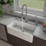 """ALFI brand - ABF3318S 33"""" White Thin Wall Single Bowl Smooth Fireclay Kitchen Farm Sink - ALFI brand fireclay farm sinks are a throwback to a simpler time. Designed to offer the traditional popular look of an apron farm sink with a contemporary twist. Made of the highest quality solid fireclay to ensure it not only looks great but also lasts for a very long time."""