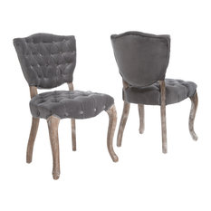 GDF Studio Violetta French Design Dining Chair, Set of 2, Gray