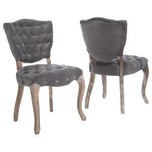 GDF Studio Violetta French Design Dining Chair, Set of 2, Gray