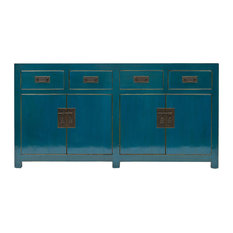 Teal Lacquer Sideboard, 4 Drawers, 2 Double Cupboards