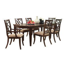 Homelegance Keegan 8-Piece Dining Room Set With Buffet Brown Cherry