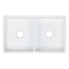 """SWUF32189WH Fireclay 33"""" Equal Double Bowl Farmhouse Sink, White"""