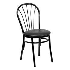 Flash Furniture Hercules Fan Back Metal Dining Chair in Black by Flash Furniture