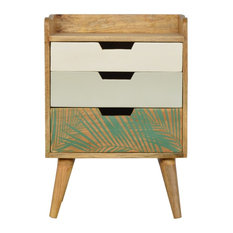 Nordic Style Bedside with Foliage Leaf Print Drawer Front