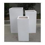 Tall Square Contemporary White Light Concrete Planter H80 L40 W40 cm
