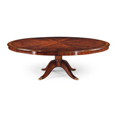 Mahogany Extending Circular Dining Table With Storage Cabinet For Leaves