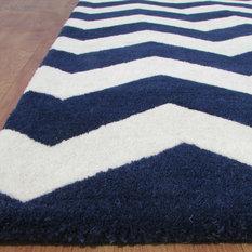 Adc Rugs Chevron Zig Zag Navy Blue Handmade Persian Style Woolen Area Rug