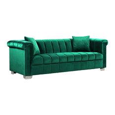 Meridian Furniture   Kayla Velvet Sofa, Green   Sofas