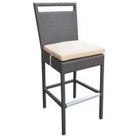 """Armen Living Tropez 29"""" Patio Bar Stool in Black and Beige"""