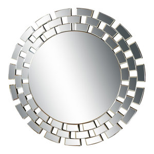 Abbyson Living Devon Round Wall Mirror, Silver