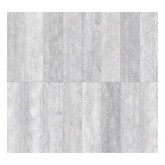 "Rustic Wood Look Porcelain Tile, 5""x40"", Set of 6, Bianco"