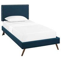 Macie Twin Upholstered Fabric Platform Bed With Round Splayed Legs, Azure
