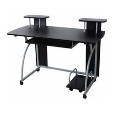 Modern Desk Table, Particle Board With Sliding Keyboard Tray and Open Shelf