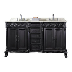 "Genoa 60"" Antique Black Vanity With Marble Vanity Top and Sink"