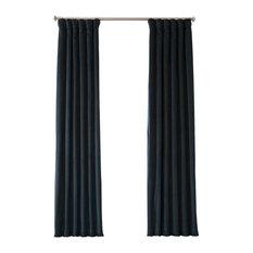 "Signature Midnight Blue Blackout Velvet Curtain Single Panel, 50""x108"""